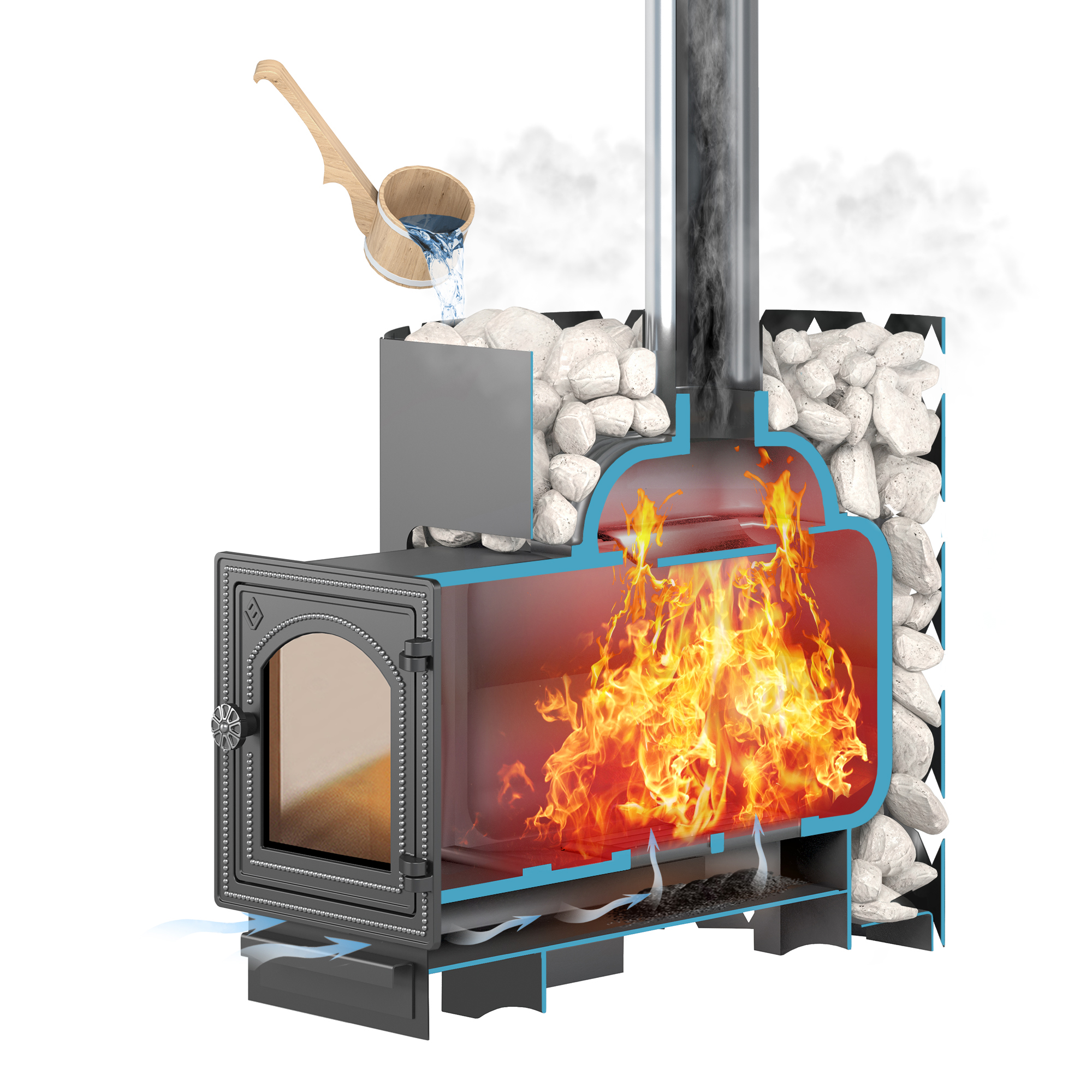 Чугунная печь для бани ЭТНА 18 (ДТ-4С)